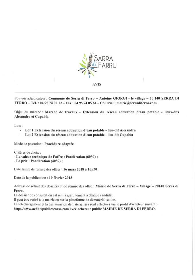 Marché de travaux-Extension du réseau d'eau potable aux lieux dits Alesandra et cupabia
