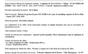 Marché triannuel 2017 - 2018 - 2019 gestion du port j.b tomi et des zones de mouillage organisé de porto pollo