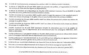 Arrêté 2A-2021-01-08-001 du 08/01 2020 portant modification de l'arrêté préfectorale 2A-2020-07-10-002 du 10/07/2020